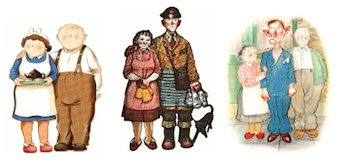 Jim and Hilda Bloggs, Ethel and Ernest Briggs, and Wally with his admiring parents...
