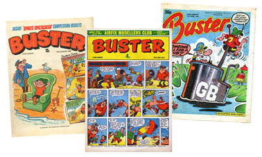 """Buster"" comics through the years - 1974, 1980, and 1987 editions"