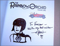 "Evelyn Crow - as drawn by Garen Ewing in The Hound's copy of ""The Rainbow Orchid - Volume one"""
