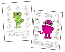 Roobarb and custard giclees from the Animation Art Gallery