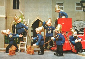 Pugh, Pugh, Cuthbert, Dibble, Grub, Captain Flack - and a snoozing Barney McGrew!